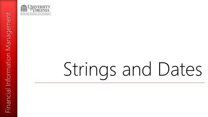 Strings and Dates