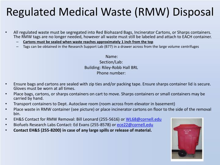 Regulated Medical Waste (RMW) Disposal