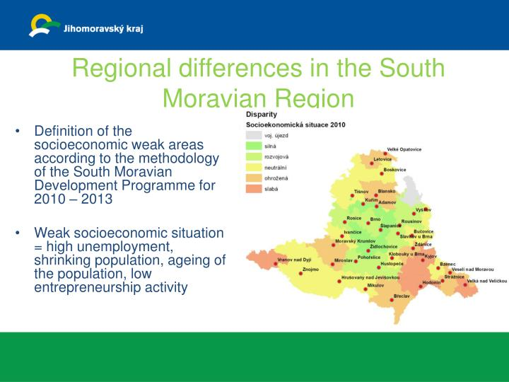 Regional differences in the South Moravian Region
