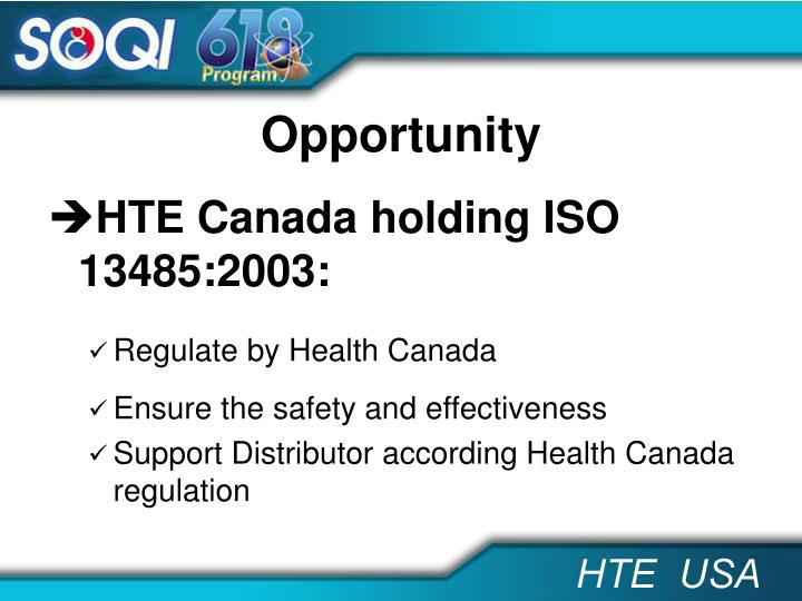 HTE Canada holding ISO 13485:2003: