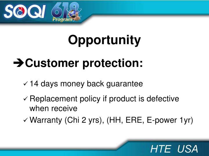 Customer protection: