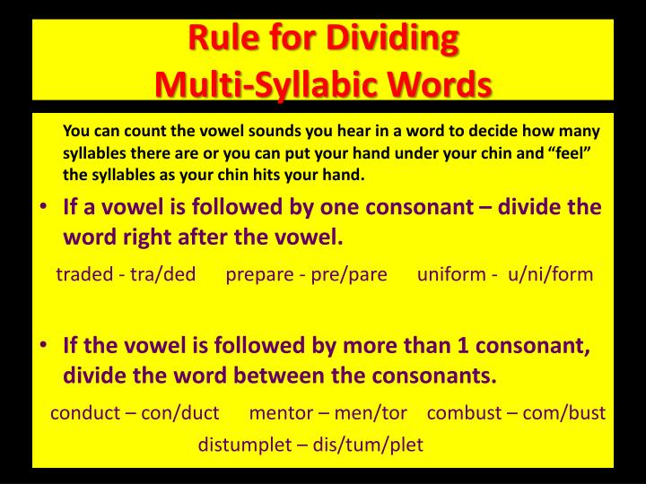 Rule for Dividing