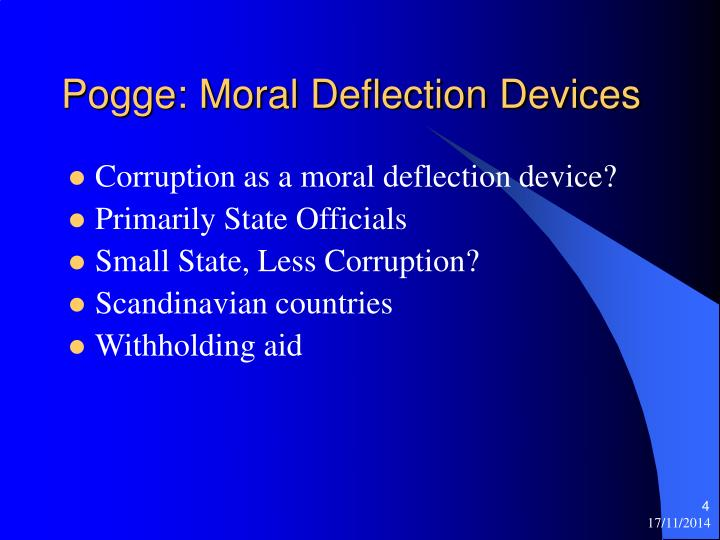 Pogge: Moral Deflection Devices