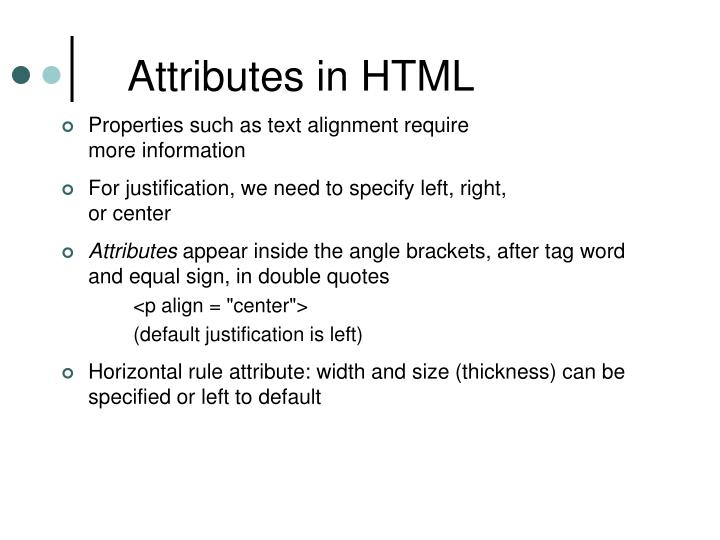 Attributes in HTML