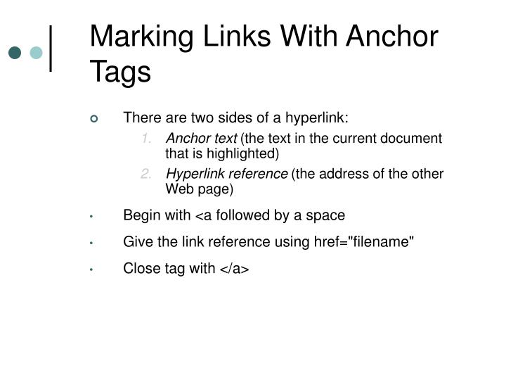 Marking Links With Anchor Tags