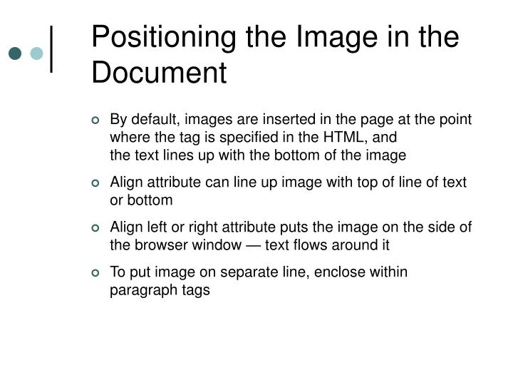 Positioning the Image in the Document