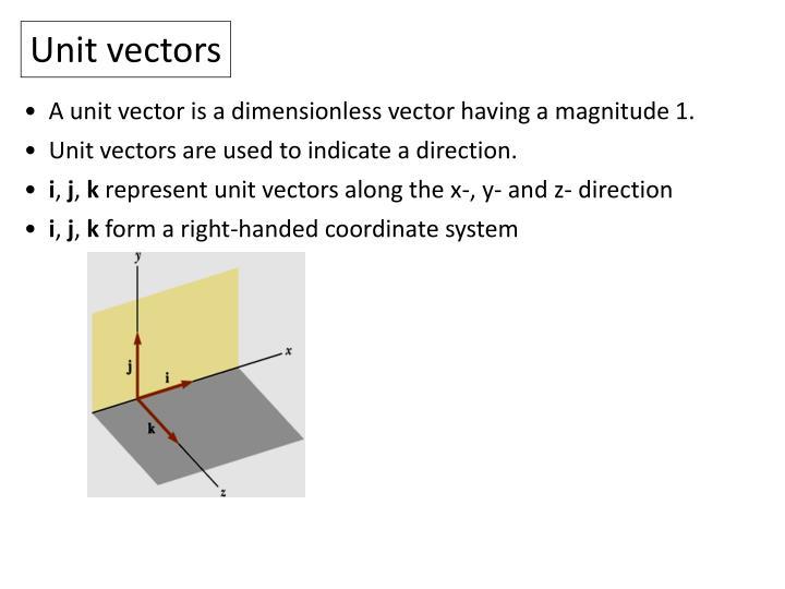Unit vectors