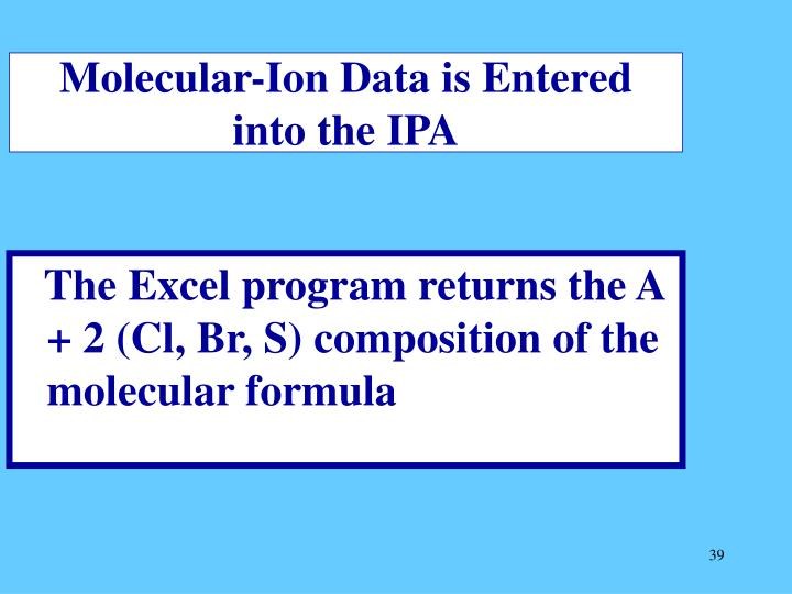 Molecular-Ion Data is Entered into the IPA