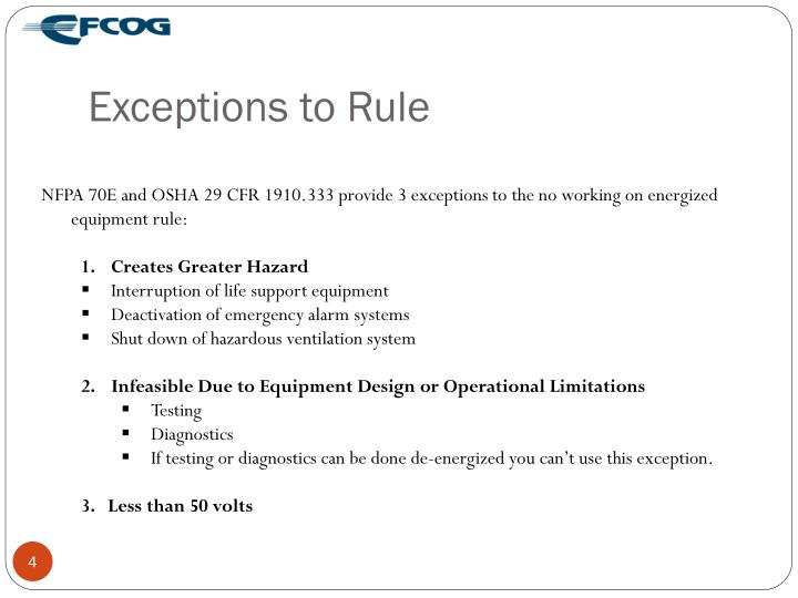 Exceptions to Rule