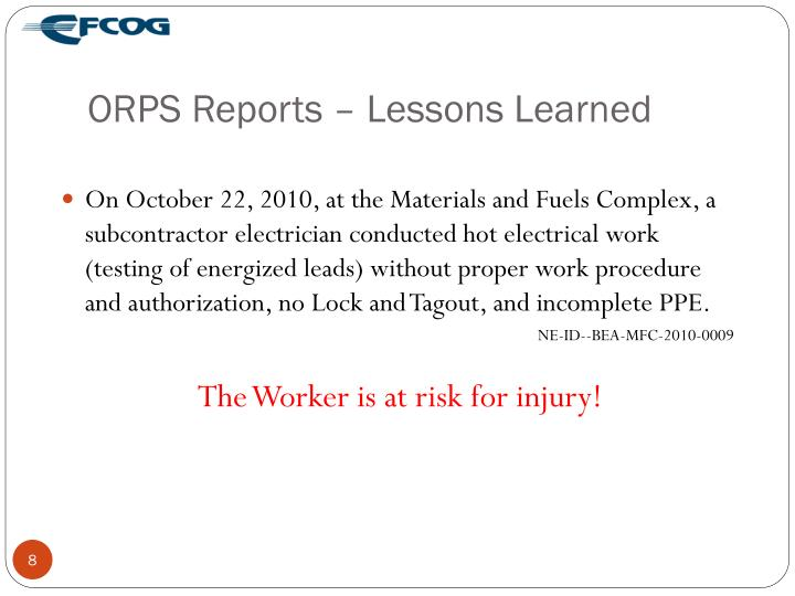 ORPS Reports – Lessons Learned