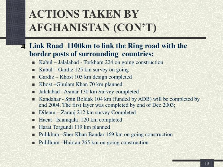 ACTIONS TAKEN BY AFGHANISTAN (CON'T)