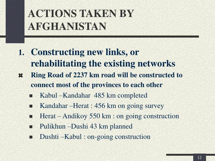 ACTIONS TAKEN BY AFGHANISTAN