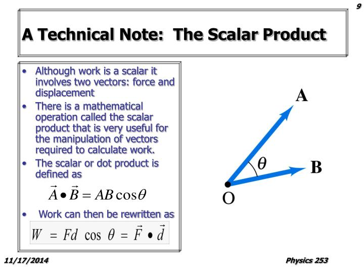A Technical Note:  The Scalar Product