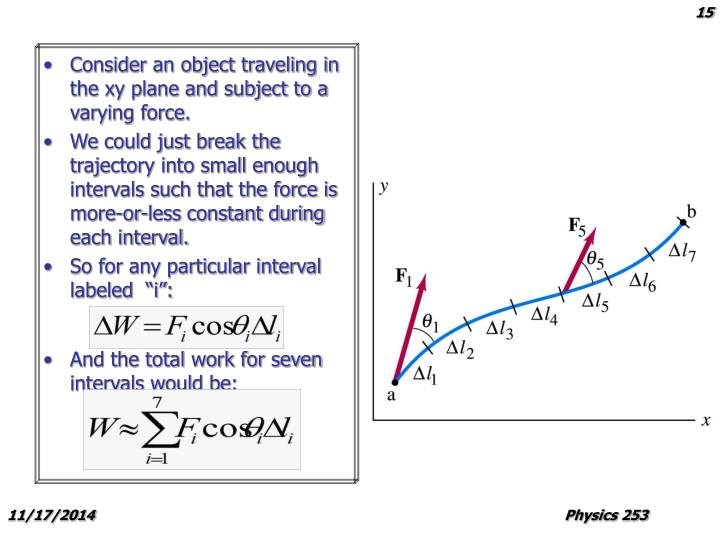 Consider an object traveling in the xy plane and subject to a varying force.