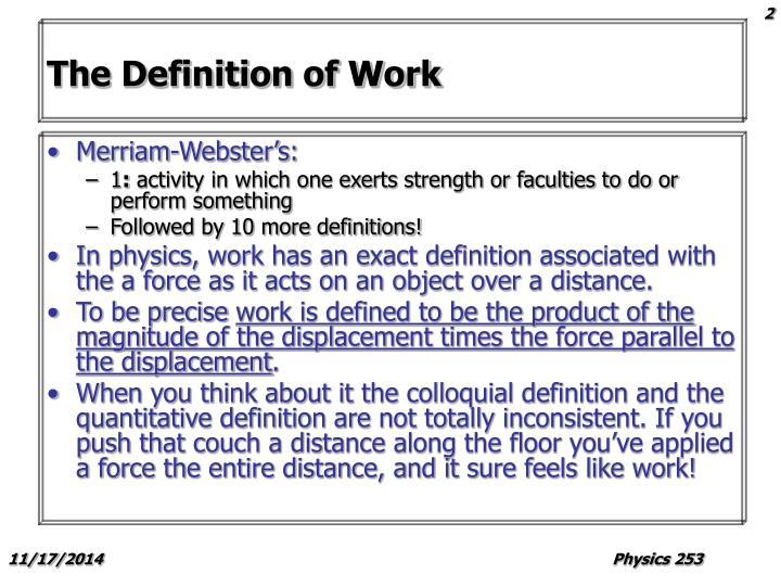 The definition of work