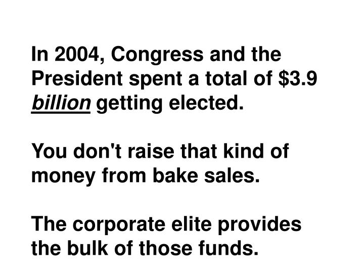 In 2004, Congress and the President spent a total of $3.9