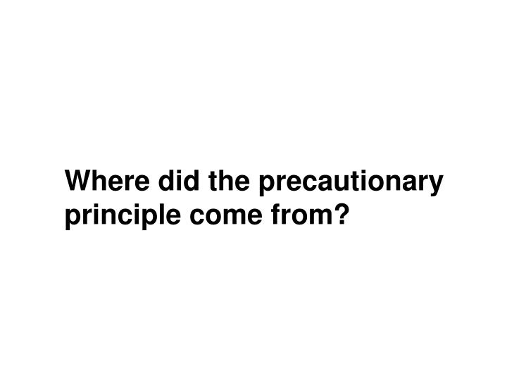 Where did the precautionary principle come from?