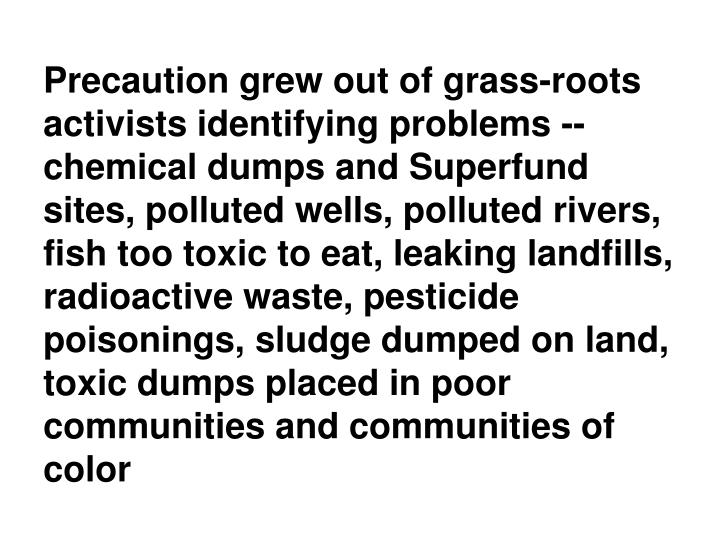 Precaution grew out of grass-roots activists identifying problems --