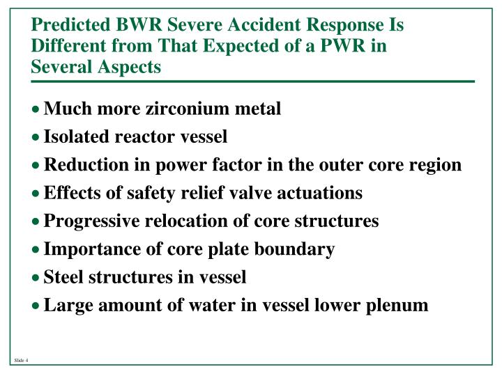 Predicted BWR Severe Accident Response Is Different from That Expected of a PWR in