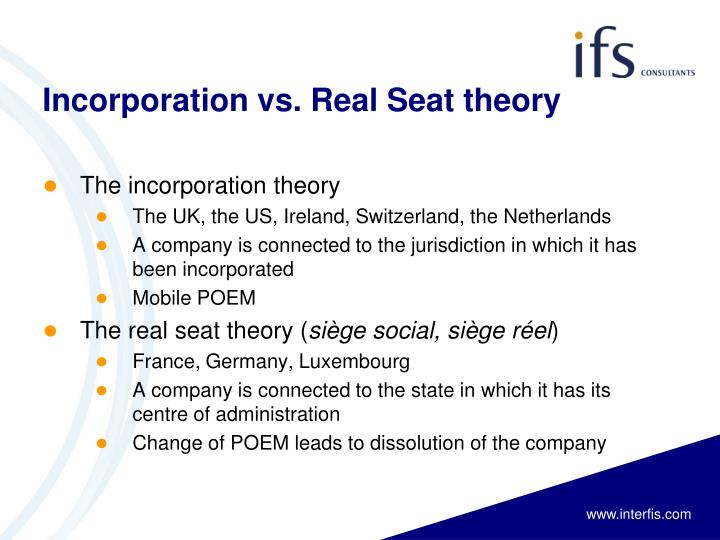 Incorporation vs real seat theory