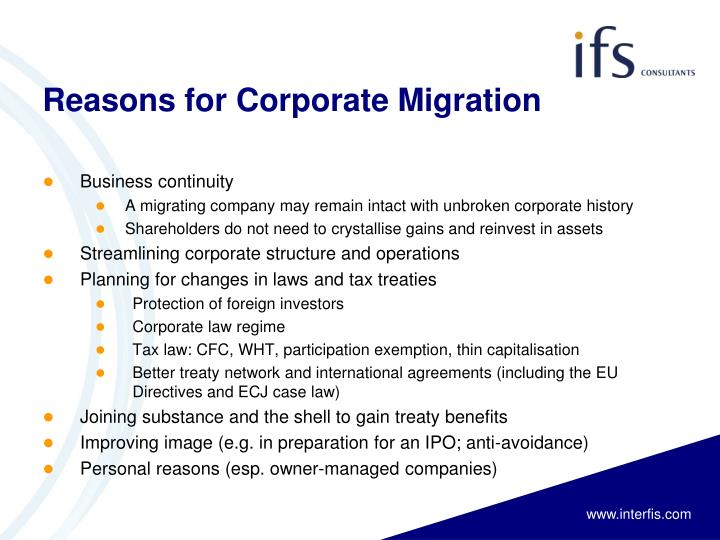 Reasons for corporate migration