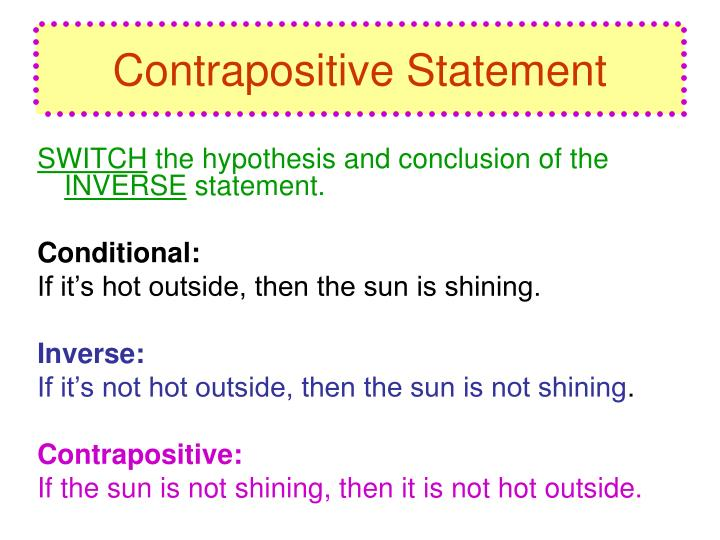 Contrapositive statement