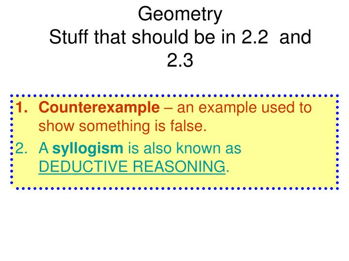 Geometry stuff that should be in 2 2 and 2 3