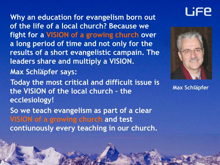 Why an education for evangelism born out of the life of a local church? Because we fight for a