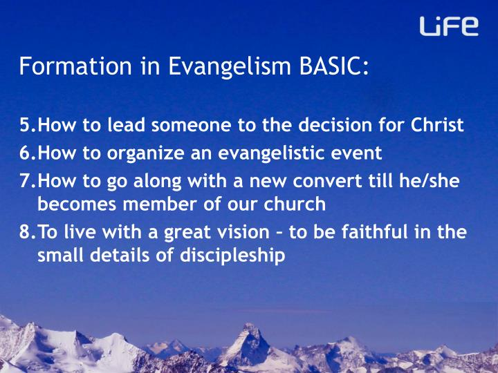 Formation in Evangelism BASIC:
