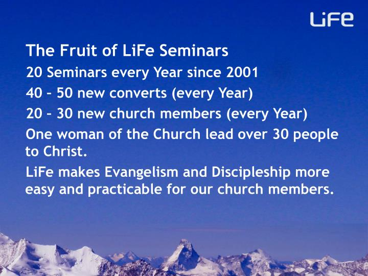 The Fruit of LiFe Seminars