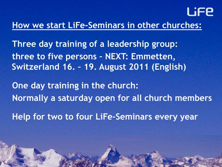 How we start LiFe-Seminars in other churches: