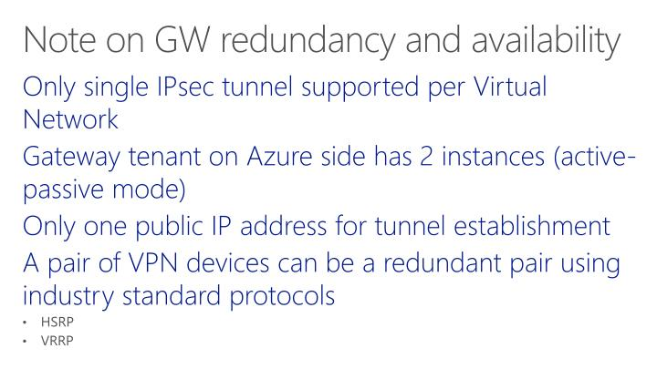 Only single IPsec tunnel supported per Virtual Network
