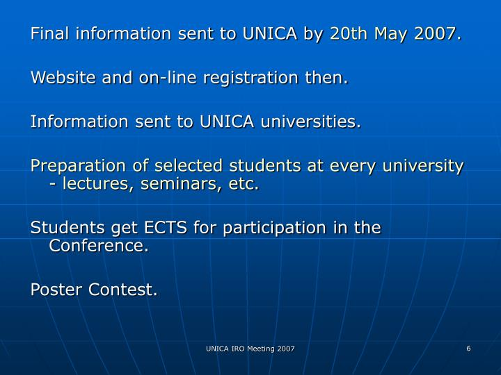 Final information sent to UNICA by