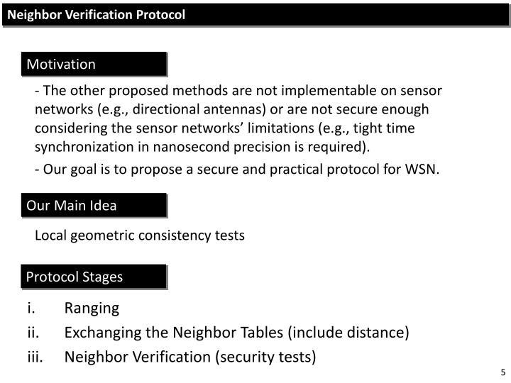 Neighbor Verification Protocol