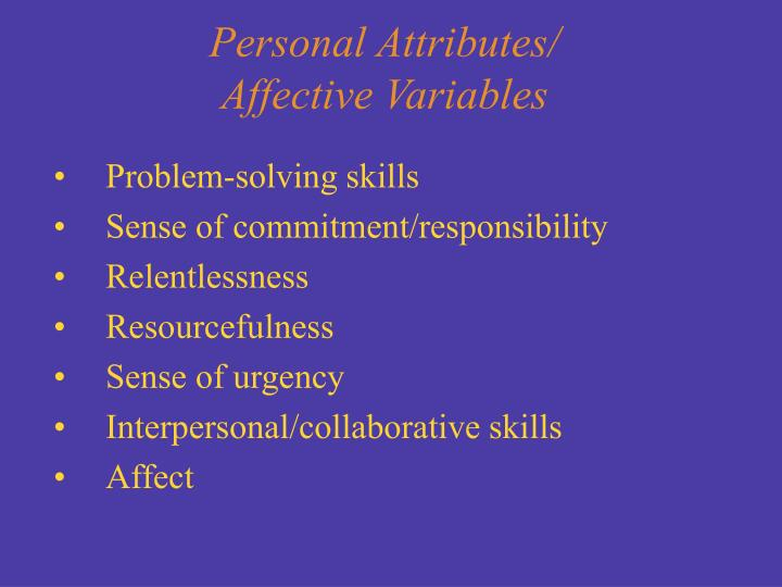 Personal Attributes/