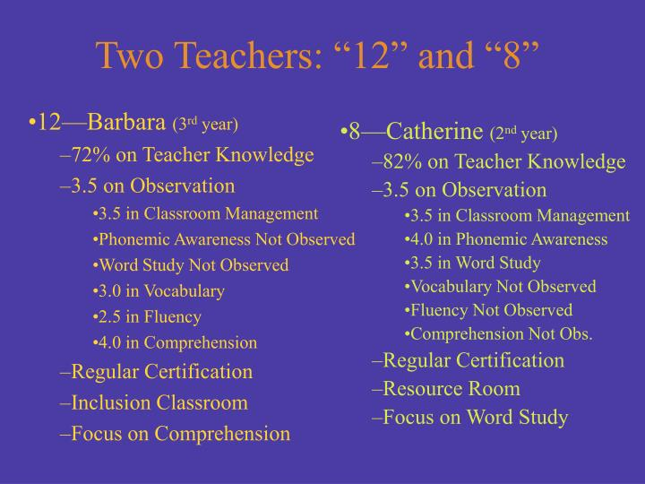 "Two Teachers: ""12"" and ""8"""