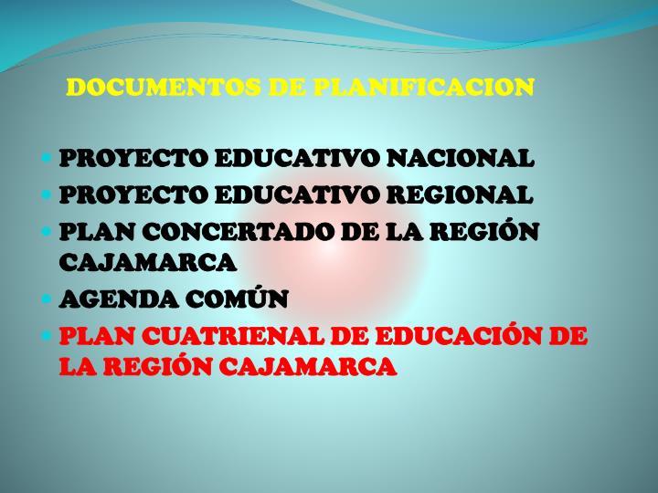 DOCUMENTOS DE PLANIFICACION