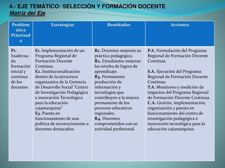 4.- EJE TEMÁTICO: SELECCIÓN Y FORMACIÓN DOCENTE