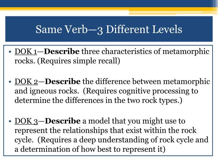Same Verb—3 Different Levels