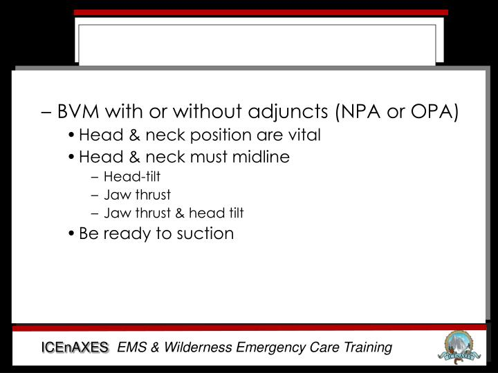 BVM with or without adjuncts (NPA or OPA)