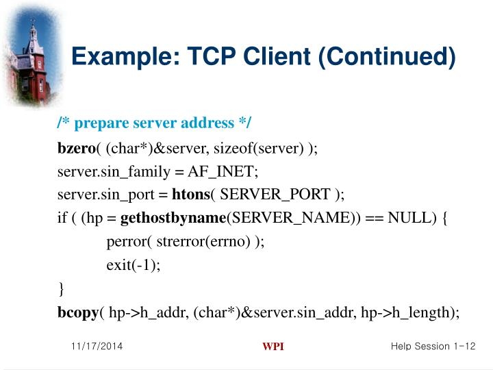 Example: TCP Client (Continued)