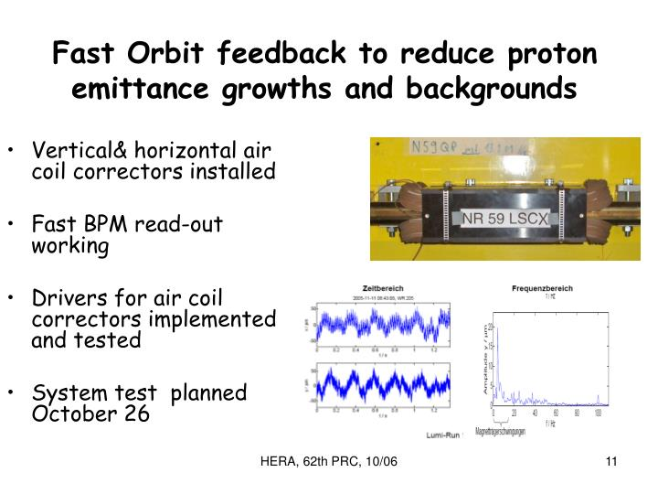 Fast Orbit feedback to reduce proton emittance growths and backgrounds