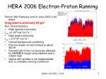 hera 2006 electron proton running