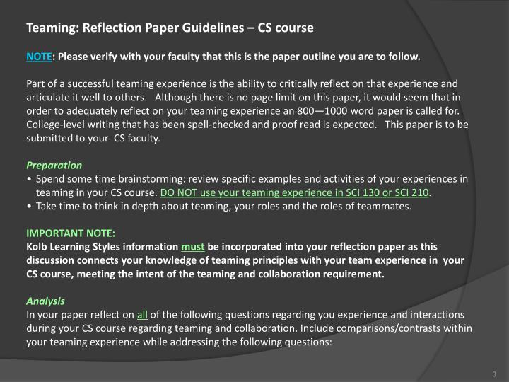 Teaming: Reflection Paper Guidelines – CS course