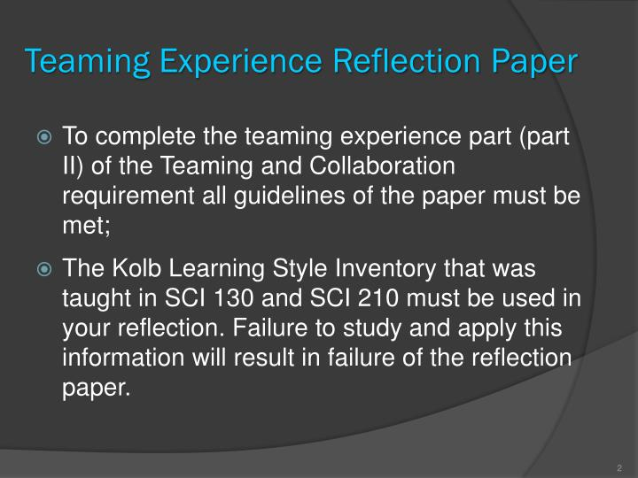Teaming Experience Reflection Paper