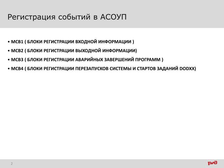 Регистрация событий в АСОУП
