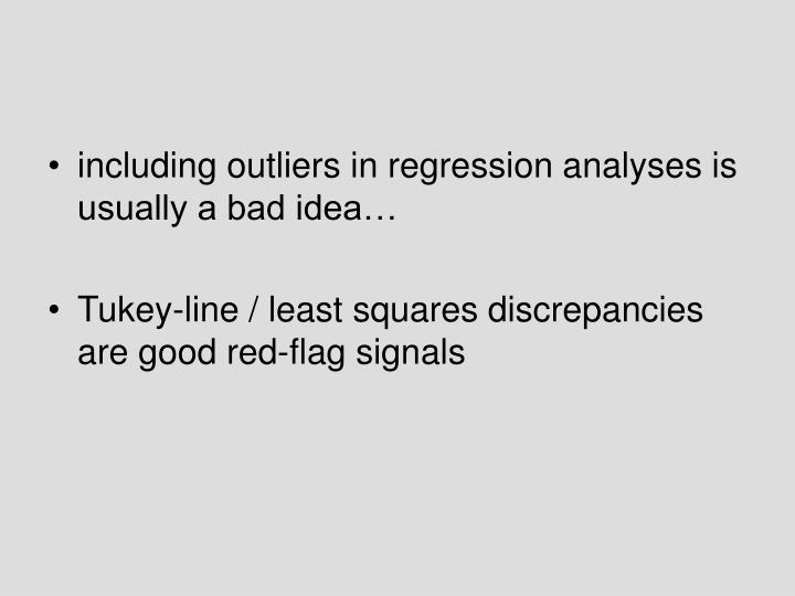 including outliers in regression analyses is usually a bad idea…
