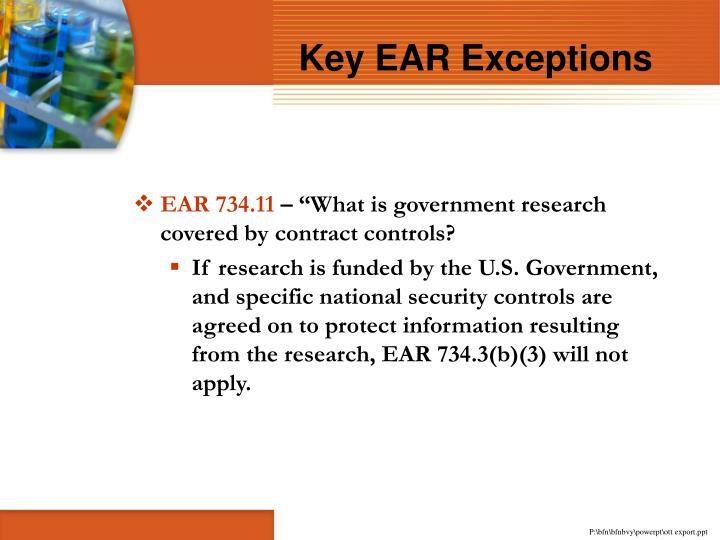 Key EAR Exceptions