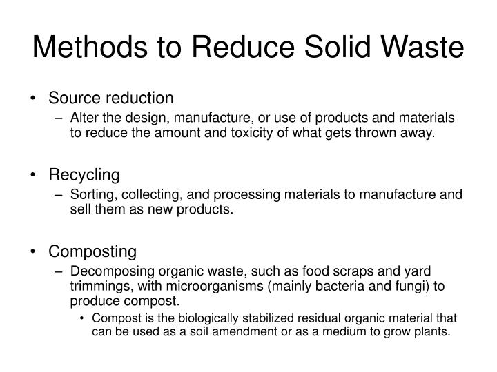 Methods to Reduce Solid Waste