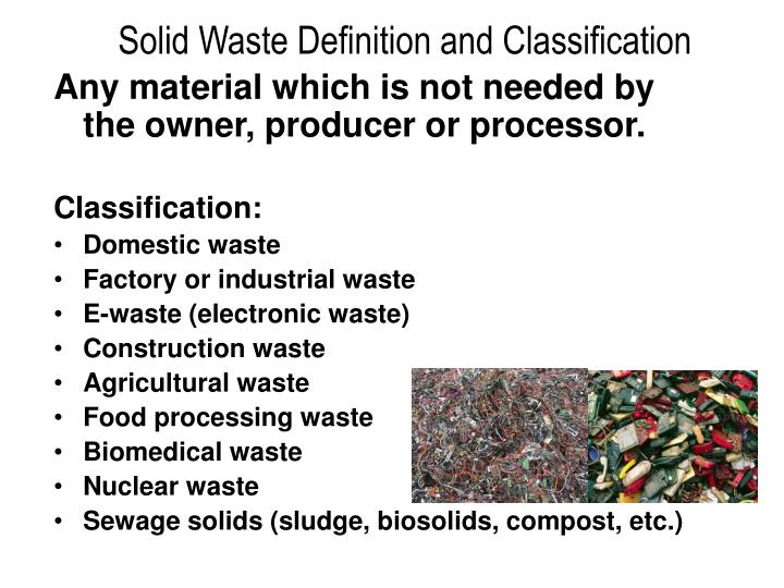 Solid Waste Definition and Classification